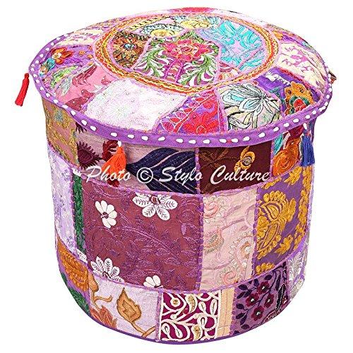 22 x 22 x 42 Ottoman Couverture Marron Coton Floral traditionnel meubles Repose-pieds Assise Puff Coque ethnique Housse de pouf rond Patchwork indien brod/é Pouf