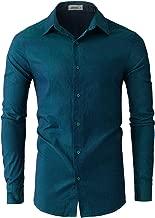 JEEGAL Men's Color Cowboy Cotton Casual Long Sleeve Dress Shirt