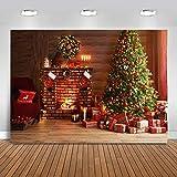 Avezano Telón de fondo de Navidad de 2,1 x 1,5 m para fotografía interior, chimenea, decoración de árbol de Navidad, telón de fondo de fotos para niños