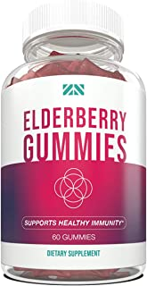 Elderberry Gummies for Adults and Kids - Immune Support Gummies - Black Elderberry - Immune Supplement with Vitamins and H...