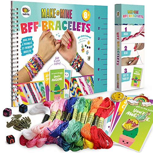 "Friendship Bracelet Making Kit, Huge Value, Letter Beads, Crafts For Girls, 20 Multi-Color Embroidery Floss, ""A-Z"" Alphabet Beads, Knot Patterns, Colorful String, Bracelet Charms, Friendship Bracelets"