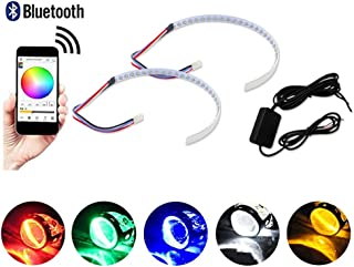 GTinthebox Bluetooth Wireless Remote Control 30-SMD RGB LED Demon Eye Halo Ring Kit For Car Auto Motorcycle Headlight Projectors or 2.5
