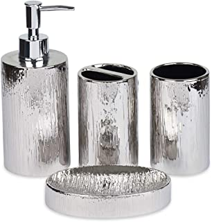 Blue Donuts Bathroom Accessories Set, Toothbrush Holder, Soap Dispenser, Silver, Ceramic, 4 Piece