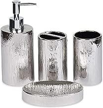 Blue Donuts Bathroom Accessories Set, Toothbrush Holder, Soap Dispenser, Silver, Ceramic, 4 Piece
