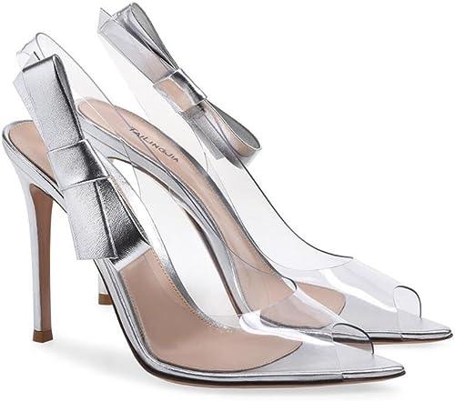 XDGG Femmes Les Les Les dames Rosée à Talons Hauts Grande Taille Sandales Poisson Bouche Transparent PVC Bouche Peu Profonde Cuir Couture 2018,argent,35