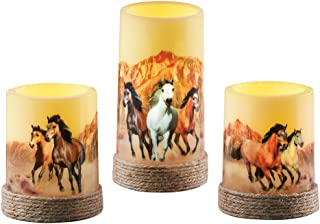 Collections Etc Majestic Horses LED Flameless Candle Set, Wild Galloping Horses Home Décor, Flickering, 3 Pc
