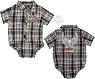 21986d8fe Harley-Davidson Boys Baby Upwing Eagle with B&S Plaid Short Sleeve Creeper