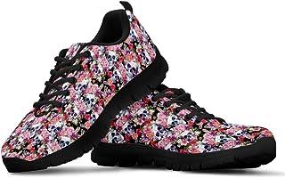 HUGS IDEA Chaussures de course légères et flexibles pour femme Motif crâne floral