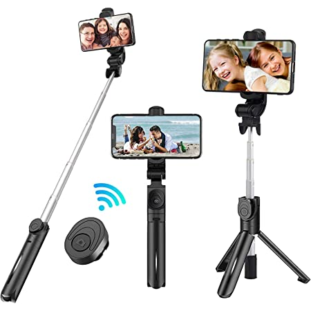 Hauwei 4 in 1 Fill Light Portable Extendable Selfie Stick with Bluetooth Remote Compatible with iPhone 11 11Pro Xs max XS XR X 8P 7P ELEGIANT Selfie Stick Tripod Bluetooth Galaxy S10 9 8 Note