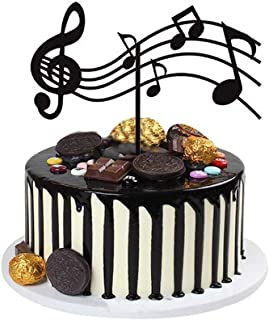 Musical Cake Toppers Acrylic,Sheet Music Cake Topper,Musical Notes Cake Toppers,Musical Theme Birthday Party Supplies for Birthday Musician Party (Black)