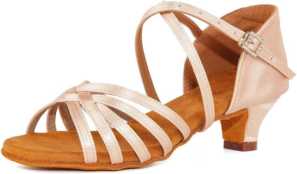 JUODVMP Sales Pink Girls Latin Dance Salsa Ballroom Satin Shoes Tango Max 73% OFF