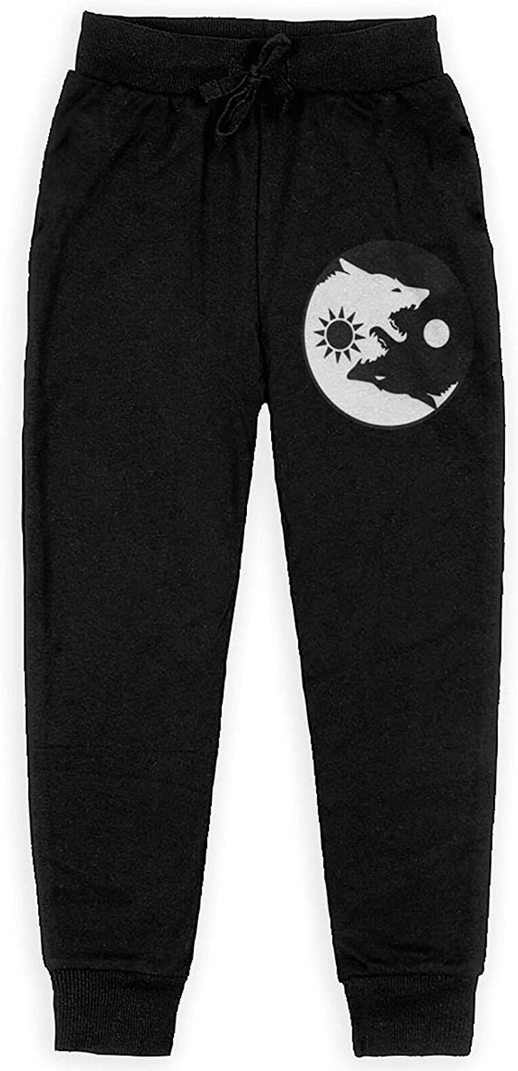 Yin Yang Wolf Boy's Training Flannel Sweatpants Girl's Jogger Cotton Sweats Pants with Pockets
