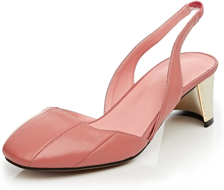 MINIVOG Women's Square Toe Backstrap Heeled Sandals