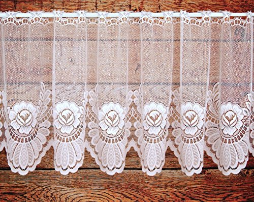 Scheibengardine aus feinem Jacquard mit großen Blumen in rein weiß - Panneaux mit gebogter Kante - HxB 40x150 cm Bistrogardine Rosen Bordüre Gardine Typ113