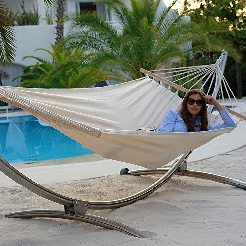 Unbekannt Luxus Hängematten-Set Chico Alpha aus Edelstahl mit Rad und Stabhängematte Jamaica Natura