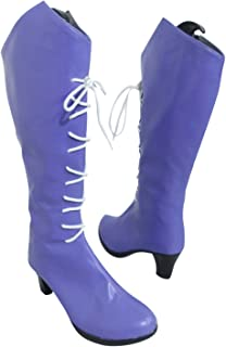 Sailor Saturn Hotaru Tomoe Light Purple Long Halloween Cosplay Shoes Boots