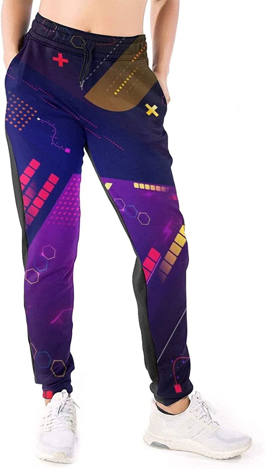 LONEA Women Joggers Pants Colorful Geometric Abstract Digital Athletic Sweatpants with Pockets Casual Trousers Baggy