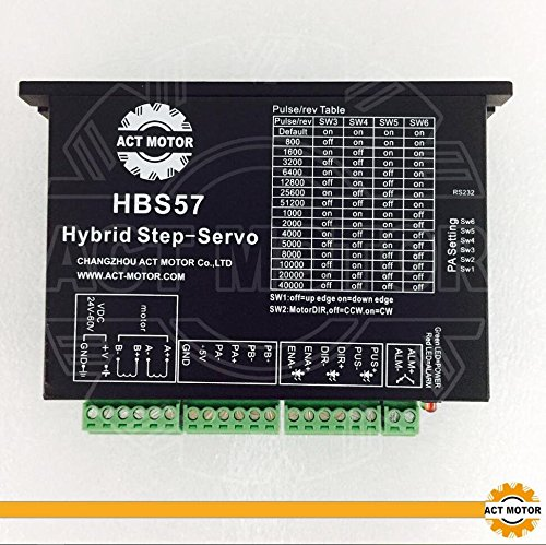 ACT Motor GmbH 1PC Closed Loop Motor Servo Driver HBS57 for Nema23 Closed Loop Motors 24-50VDC 4.5A Resolution 1000 CNC Router Plasma Automation Engraver Grind