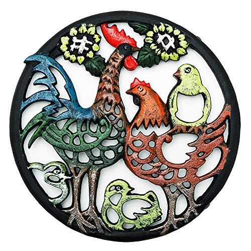 Sungmor-Dessous-de-Plat de Coq Peint à la Main en Fonte très résistant - 21cmD- Looks rustiques rétro Supports Ronds Anti-Rouille, Supports pour casseroles Chaudes ou théière, décoration de Table