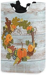 Porte-panier à linge étanche en bois de guirlande de citrouilles de Thanksgiving heureux, grand panier de sac à linge plia...