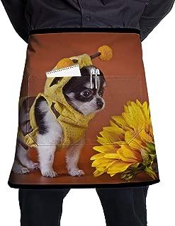 Chihuahua Dog Flower Customized Unisex Chef Work Crafts with Pocket Half Apron,Restaurant,Shop,Art Blouse,Waiter Cooking Clean Restaurant Bistro Coffee
