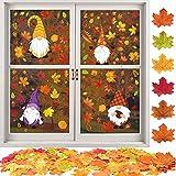 FLOFIA Set Decozione Finestra Autunno 100pz Foglie d'Acero Autunnali Finte Decorative 8 Fogli Adesivi Finestra Autunno per Decorazione Casa Finestra Halloween