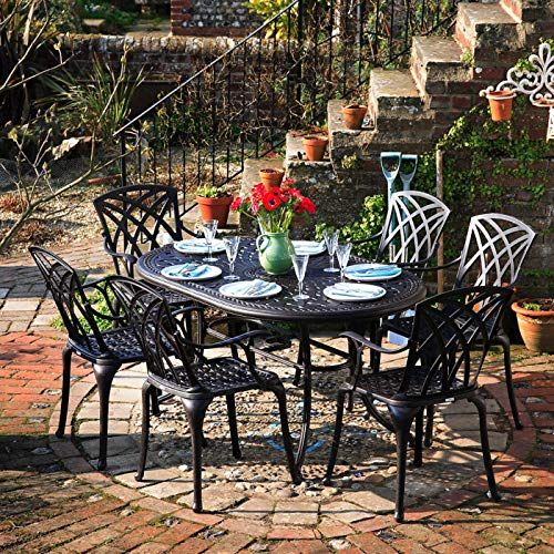 Lazy Susan June 150x95cm Oval Garden Table in Antique Bronze with 6 April Chairs | Garden | Cast Aluminium | Rust Proof | Easy Assembly | Weatherproof | 12 Month Warranty