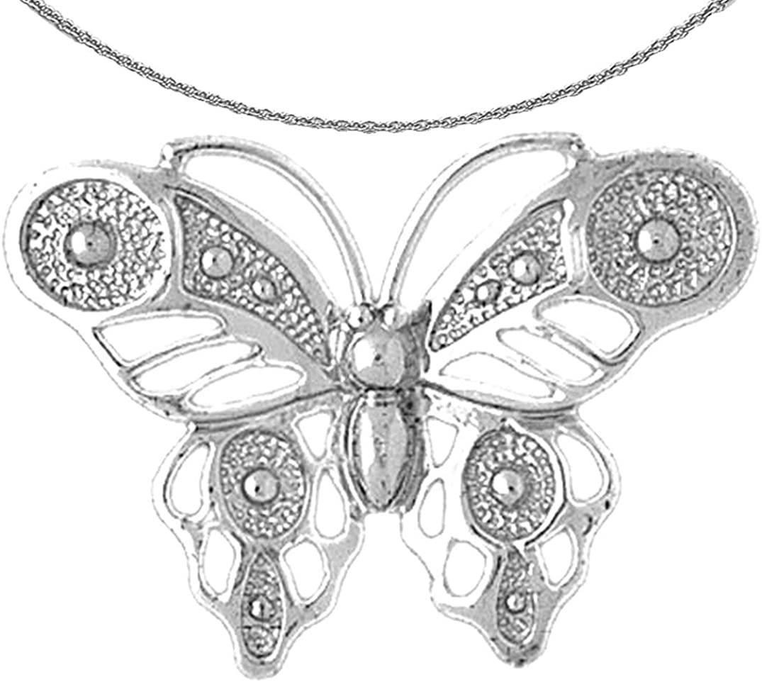 Jewels Obsession Gold Butterflies Butt New York Mall White Necklace Max 76% OFF 14K