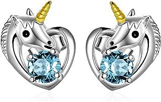 Boucles d'oreilles Licorne Argent Sterling 925 Clous d'oreilles avec Cristal, Bijoux Licorne Cadeau Anniversaire Fille Enf...