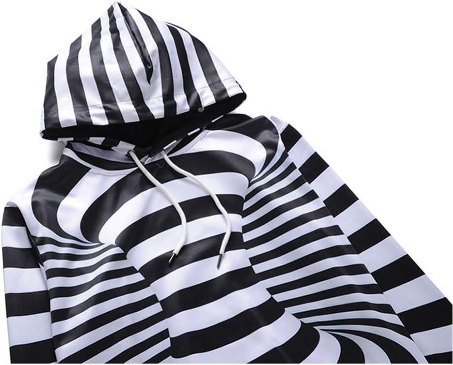 PU Printemps et Automne Nouveaux Hommes Sweat-shirts Manteau Hommes En Plein Air 3D Rayé Imprimer Pull À Capuche Chandail Lâche À Capuche Tops À Capuche Sweat-shirts,L * L