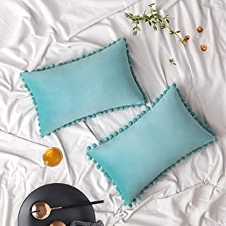 Best Woaboy Pack of 2 Velvet Throw Pillow Covers Pompom Decorative Pillowcases Solid Soft Cushion Covers with Poms Square for Couch Living Room Sofa Bedroom Car 12x20inch 30x50cm Teal Green Review