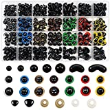 TOAOB 780 Piezas 6 hasta 12 mm Ojos de Plástico Seguridad con Arandelas de Multicolor Ojos de Muñecas Plástic y Negro Seguridad Narices para Hacer Muñecas Manualidades de Crochet Tejer Animales