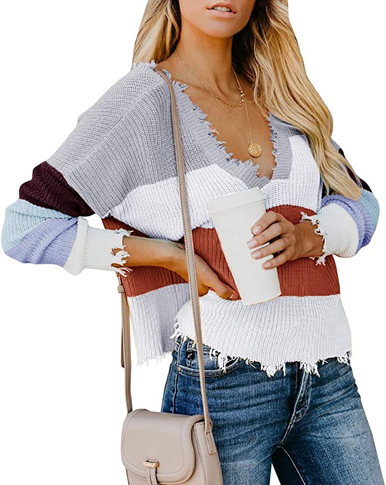 Womens Ripped Cropped Sweaters V Neck Long Sleeve Distressed Loose Knitted Pullover Jumper Top