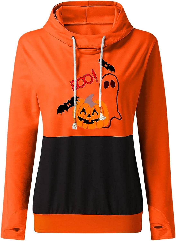 FACAIAFALO Women Halloween Graphic Hoodies Pullover Casual Long Sleeve Blouse Sweatshirt Loose Drawstring Pullover Hoodies