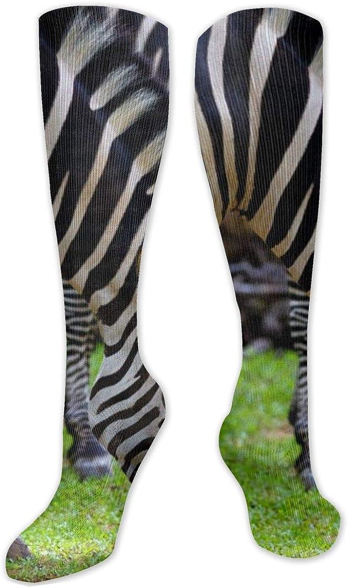 African Prairie Animal World Zebra Knee High Socks Leg Warmer Dresses Long Boot Stockings For Womens Cosplay Daily Wear