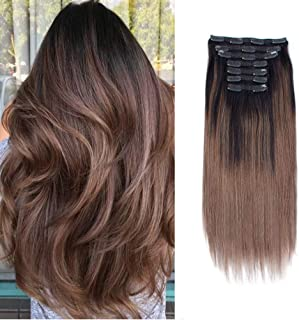 Sassina Balayaged Clip in Hair Extensions Human Hair Natural Straight Lace Clip ins Dark Brown Mixed to Chestnut Brown 7 P...