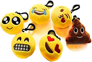 Nuoxinus Emoji Keychain Mini Plush Pillows, Cute Toys Party Supplies Favors Handbag Key Chains, Bags Backpack Accessories for Women Men Teens Girls Boys Kids (Set of 6, 2.4 inch)