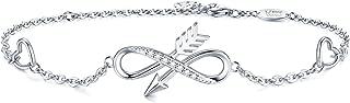 AmorAime 925 Sterling Silver Infinity Inspirational Bracelet Love Heart Charm Gifts for Women for Birthday Graduation