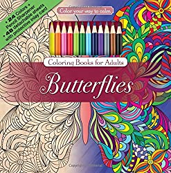 Butterfly adult coloring books. A great choice for new adult coloring, since this option comes with its own coloring pencils.