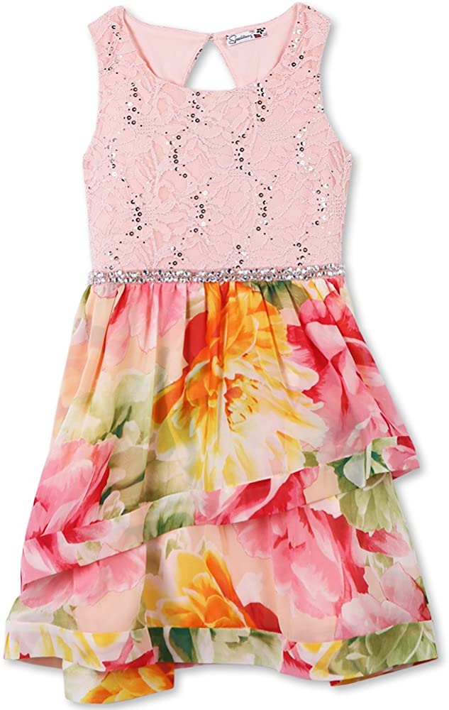 Speechless In a popularity 2021 Girls' Big Sparkle Waist Wide Party Dress with Ribbon