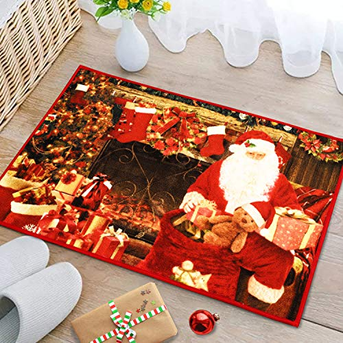 YOH Merry Christmas Santa Claus Door Mats Home Decorative Area Rug Premium Non-Skid Rubber Polyester Red Floor Mat Indoor Outdoor Hallway Kitchen Entrance Rugs, Holiday Print, Water Absorbent, 2x3 ft