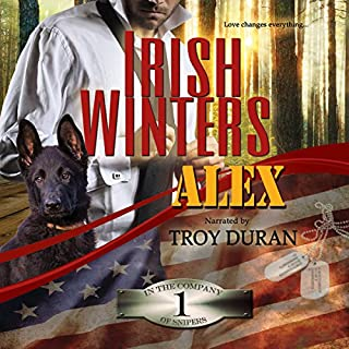 Alex     In the Company of Snipers, Book 1              By:                                                                                                                                 Irish Winters                               Narrated by:                                                                                                                                 Troy Duran                      Length: 9 hrs and 33 mins     96 ratings     Overall 4.2