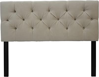 Sole Designs Jackie Collection Luxury Upholstered 8 Diamond Tufted Adjustable Diva Series Headboard, Twin, Pearl