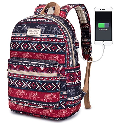 Kinmac Elephant Water Resistant Laptop Student Outdoor Backpack for Women Travel Backpack with Massage Cushion Straps for Laptop up to 15.6-Inch