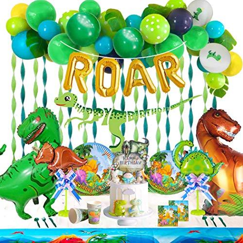 Suministros de fiesta de dinosaurios. 186+ Set con pancarta, servilletas, vasos, platos, mantel, pegatinas de dinosaurios, globos (lámina, látex) y decoración para tartas. Guirnalda de dinosaurios
