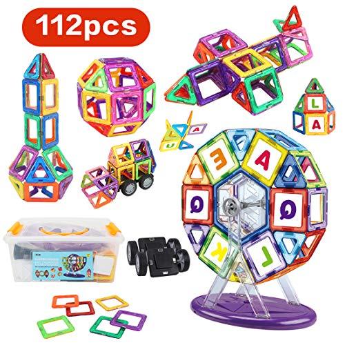 LBLA Magnetische Bausteine 112 Stück Set Magnetische Bauklötze Konstruktionsbausteine Erleuchtungsspielzeug Lernspielzeug Lehrwerkzeug Kinderspielzeug Geschenk Geeignet für Jungen Mädchen