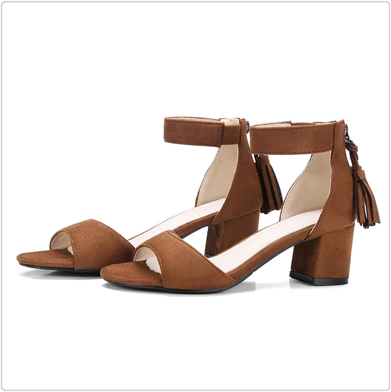 Yyixianma Women Sandals Summer Gladiator Tassel Black color Buckle strapHigh Heels Sandals