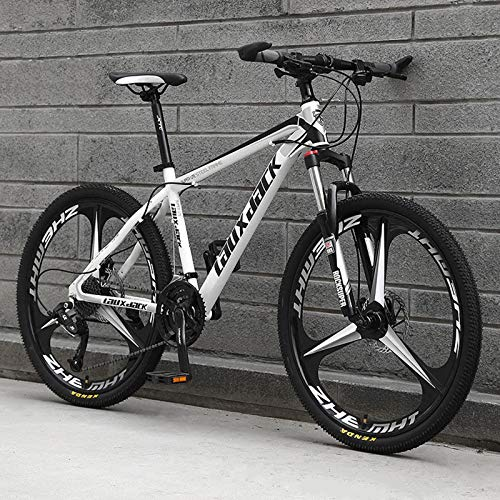 KUKU 26 Inch High Carbon Steel Mountain Bike, 27-Speed Full Suspension Mountain Bike, Mountain Bike for Men, Suitable for Sports And Cycling Enthusiasts,white and black