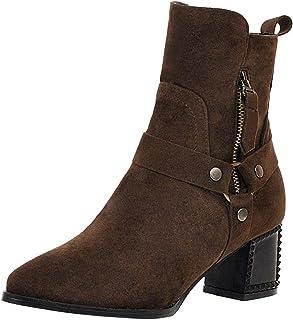 Chelsea Boots Femme - SANFASHION Bottine Clou Bottes à Talons Carrés,Bottes Grande Taille à Bout Pointu,Bottes Décontracté...