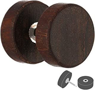 Treuheld Holz Fake Plug Ohrstecker | Dunkelbraun | 4 Größen